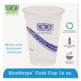 Eco-Products® BlueStripe 25% Recycled Content Cold Cups, 16oz. Clear/Blue