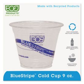 Eco-Products® BlueStripe 25% Recycled Content Cold Cups, 9oz. Clear/Blue
