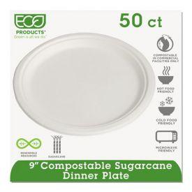Eco-Products® Renewable/Compostable Sugarcane Plates Convenience Pack, 9