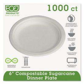Eco-Products® Renewable & Compostable Sugarcane Plates Convenience Pack, 6