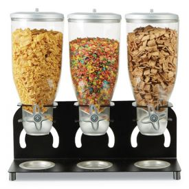 Mind Reader Heavy Duty Metal Cereal Triple Dispenser, 18 1/2w x 5.93d x 17 1/4h, Black/Clear