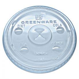 Fabri-Kal® Greenware Cold Drink Lids, Fits 16, 18, 24 oz Cups, X-Slot, Clear