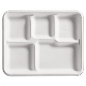 Chinet® Heavy-Weight Fiber Café Tray, 5-Compartment, 8 1/2x10 1/2, 125/BG