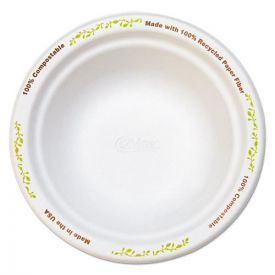 Chinet® Molded Fiber Dinnerware, Bowl, 12 oz, White w/Vine Theme