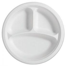 Chinet® Paper Pro Naturals Fiber Round Plates, 3-Comp, 10 1/4