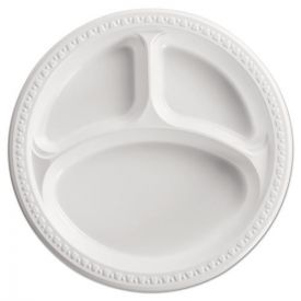 Chinet® Heavyweight Plastic 3 Compartment Plates, 10 1/4