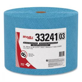 WypAll® Oil, Grease and Ink Cloths, Jumbo Roll, 9 3/5 x 13 2/5, Blue