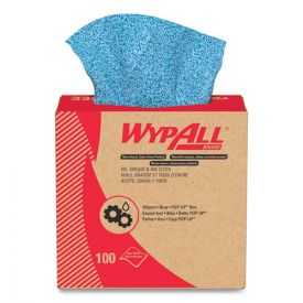 WypAll® Oil, Grease and Ink Cloths, POP-UP Box, 8 4/5 x 16 4/5, Blue