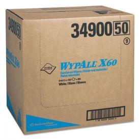 WypAll® X60 Cloths, Flat Sheet, 12 1/2 x 16 4/5, White