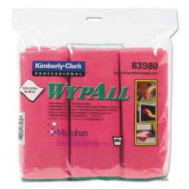 WypAll® Microfiber Cloths, Reusable, 15 3/4 x 15 3/4, Red