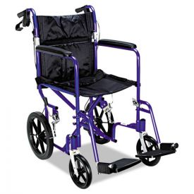 Medline Excel Deluxe Aluminum Transport Wheelchair, 19w x 16d, 300 lb Capacity