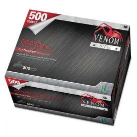 Medline Venom Steel Industrial Nitrile Gloves, Large, Black, 6 mil