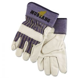 MCR™ Safety Mustang Leather Palm Gloves, Blue/Cream, X-Large