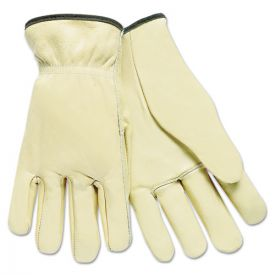 MCR™ Safety Full Leather Cow Grain Driver Gloves, Tan, Large
