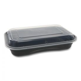 Pactiv EarthChoice Versa2Go Microwaveable Containers, 8.4 x 5.6 x 1.4, 27 oz, 1-Compartment, Black/Clear