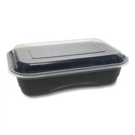 Pactiv EarthChoice Versa2Go Microwaveable Containers, 8.4 x 5.6 x 2, 36 oz, 1-Compartment, Black/Clear