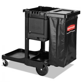 Rubbermaid® Commercial Executive Janitorial Cleaning Cart, 12.1w x 22.4d x 23h, Black