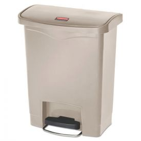 Rubbermaid® Commercial Slim Jim Resin Step-On Container, Front Step Style, 8gal, Beige