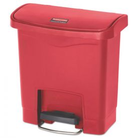 Rubbermaid® Commercial Slim Jim Resin Step-On Container, Front Step Style,  4gal, Red