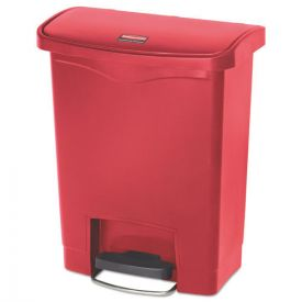Rubbermaid® Commercial Slim Jim Resin Step-On Container, Front Step Style, 8gal, Red