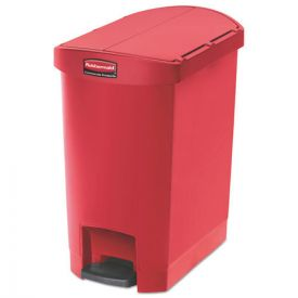 Rubbermaid® Commercial Slim Jim Resin Step-On Container, End Step Style, 8gal, Red