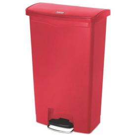 Rubbermaid® Commercial Slim Jim Resin Step-On Container, Front Step Style, 18gal, Red