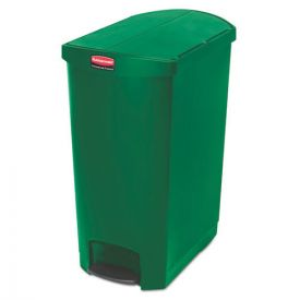 Rubbermaid® Commercial Slim Jim Resin Step-On Container, End Step Style, 24gal, Green