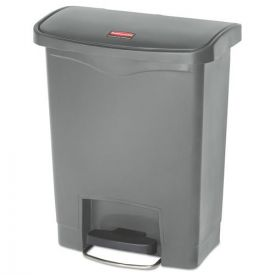 Rubbermaid® Commercial Slim Jim Resin Step-On Container, Front Step Style, 8gal, Gray