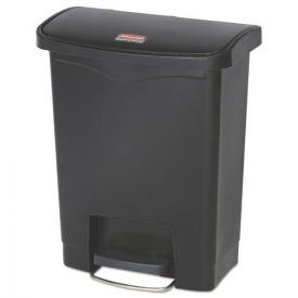 Rubbermaid® Commercial Slim Jim Resin Step-On Container, Front Step Style, 8gal, Black