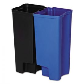 Rubbermaid® Commercial Step-On Rigid Dual Liner for Stainless End Step, Plastic,  8gal, Black/Blue