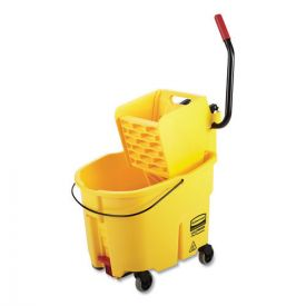 Rubbermaid® Commercial WaveBrake 2.0 Bucket/Wringer Combos, 8.75gal, Side Press with Drain, Yellow