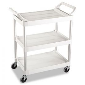 Rubbermaid® Commercial Service Cart, 200-lb Capacity, Three-Shelf, 18.63w x 33.63d x 37.75h, Off-White