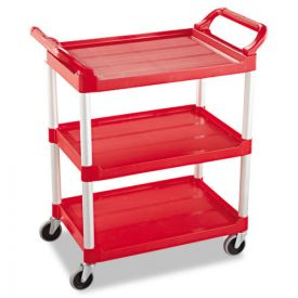 Rubbermaid® Commercial Service Cart, 200-lb Capacity, Three-Shelf, 18.63w x 33.63d x 37.75h, Red
