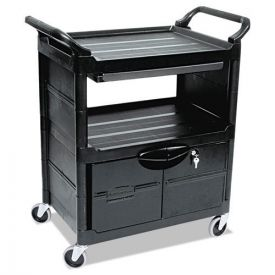 Rubbermaid® Commercial Utility Cart With Locking Doors, Two-Shelf, 33.63w x 18.63d x 37.75h, Black