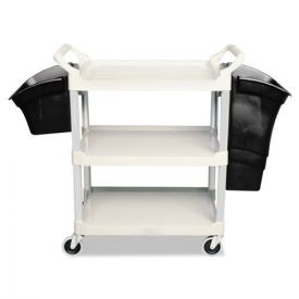 Rubbermaid® Commercial Xtra Utility Cart, 300-lb Capacity, Three-Shelf, 20w x 40.63d x 37.8h, Gray