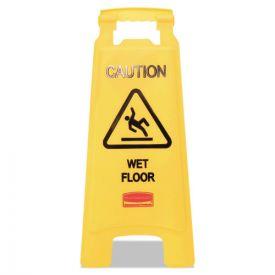 Rubbermaid® Commercial Caution Wet Floor Floor Sign, Plastic, 11 x 12 x 25, Bright Yellow