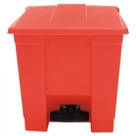 Rubbermaid® Commercial Indoor Utility Step-On Waste Container, Square, Plastic, 8 gal, Red