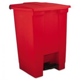 Rubbermaid® Commercial Indoor Utility Step-On Waste Container, Square, Plastic, 12 gal, Red