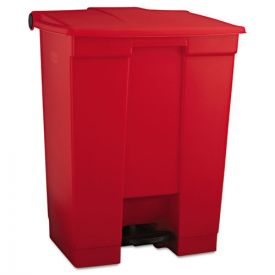 Rubbermaid® Commercial Indoor Utility Step-On Waste Container, Rectangular, Plastic, 18 gal, Red