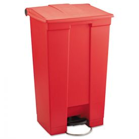 Rubbermaid® Commercial Indoor Utility Step-On Waste Container, Rectangular, Plastic, 23 gal, Red