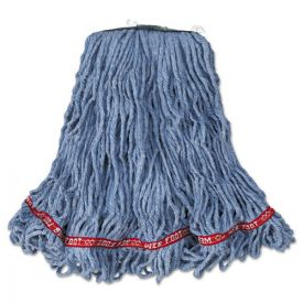 Rubbermaid® Commercial Web Foot Looped-End Wet Mop Head, Cotton/Synthetic, Medium Size, Blue