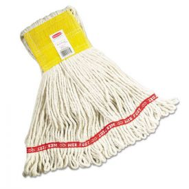 Rubbermaid® Commercial Web Foot Wet Mops, Cotton/Synthetic, White, Small, 5-in. Yellow Headband