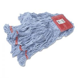 Rubbermaid® Commercial Web Foot Wet Mops, Cotton/Synthetic, Blue, Large, 5-in. Red Headband