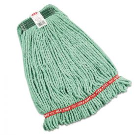 Rubbermaid® Commercial Web Foot Wet Mop Heads, Shrinkless, Cotton/Synthetic, Green, Medium