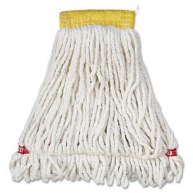 Rubbermaid® Commercial Web Foot Wet Mop Head, Shrinkless, Cotton/Synthetic, White, Small