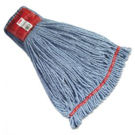 Rubbermaid® Commercial Web Foot Wet Mop Heads, Shrinkless, Cotton/Synthetic, Blue, Large