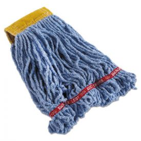 Rubbermaid® Commercial Swinger Loop Shrinkless Mop Heads, Cotton/Synthetic, Blue, Small