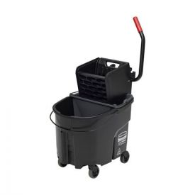 Rubbermaid® Commercial WaveBrake 2.0 Bucket/Wringer Combos, Side-Press, 35qt, Plastic, Black