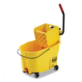 Rubbermaid® Commercial WaveBrake 2.0 Bucket/Wringer Combos, Side-Press, 44qt, Plastic, Yellow