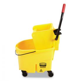 Rubbermaid® Commercial WaveBrake 2.0 Bucket/Wringer Combos, Side-Press, 26qt, Plastic, Yellow